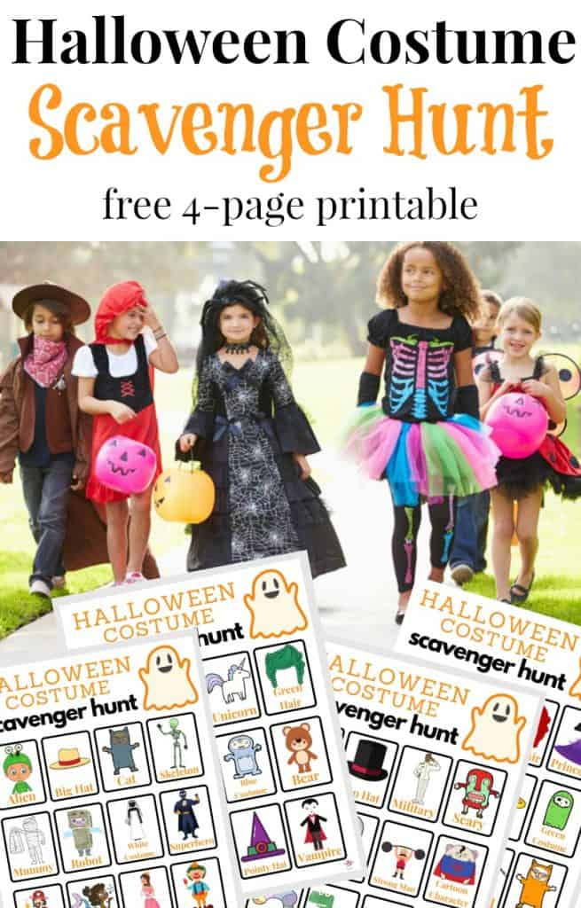 text overlay, image of 5 kids in costumes, 4 images of Halloween Costume Scavenger Hunt printables