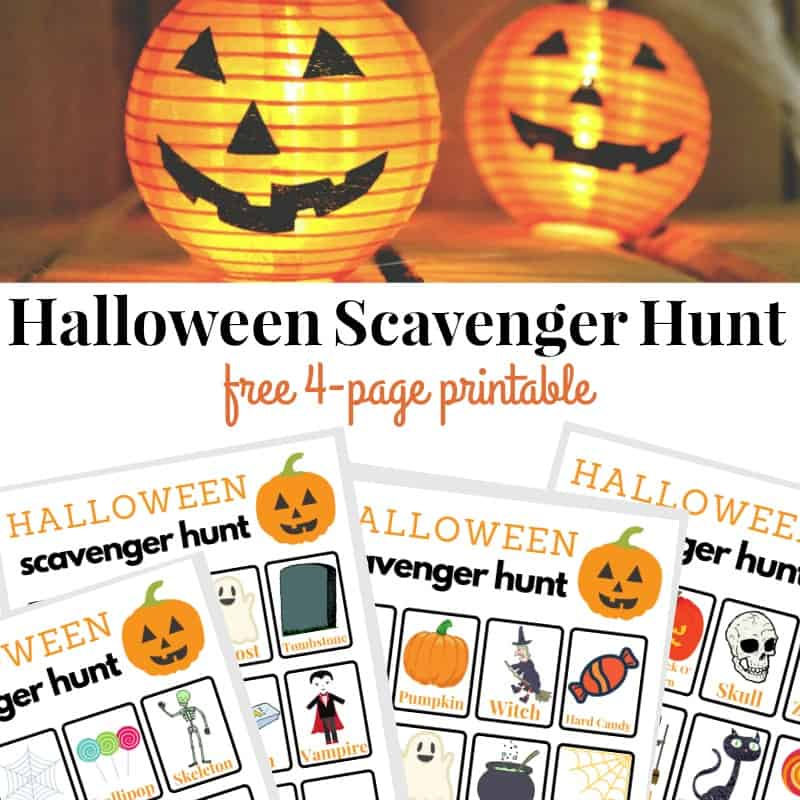 2 jack o'lanterns and 4 printable Halloween scavenger hunt sheets