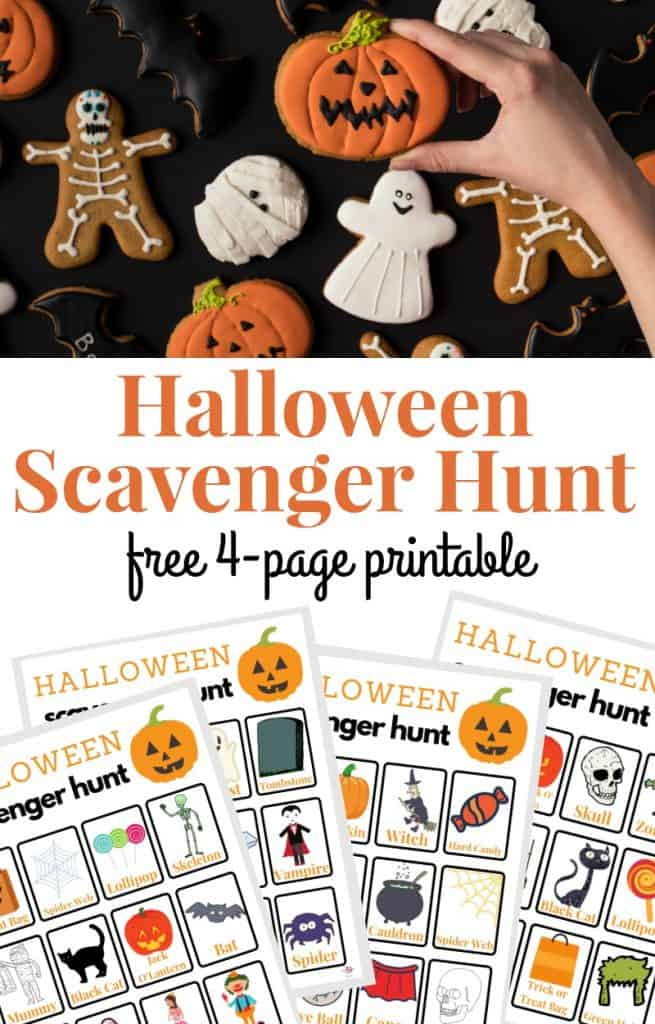 Hand grabbing pumpkin cookie from several Halloween-themed cookies and 4 scavenger hunt sheets for Halloween
