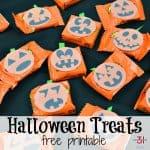 8 orange treats with jack o'lantern faces