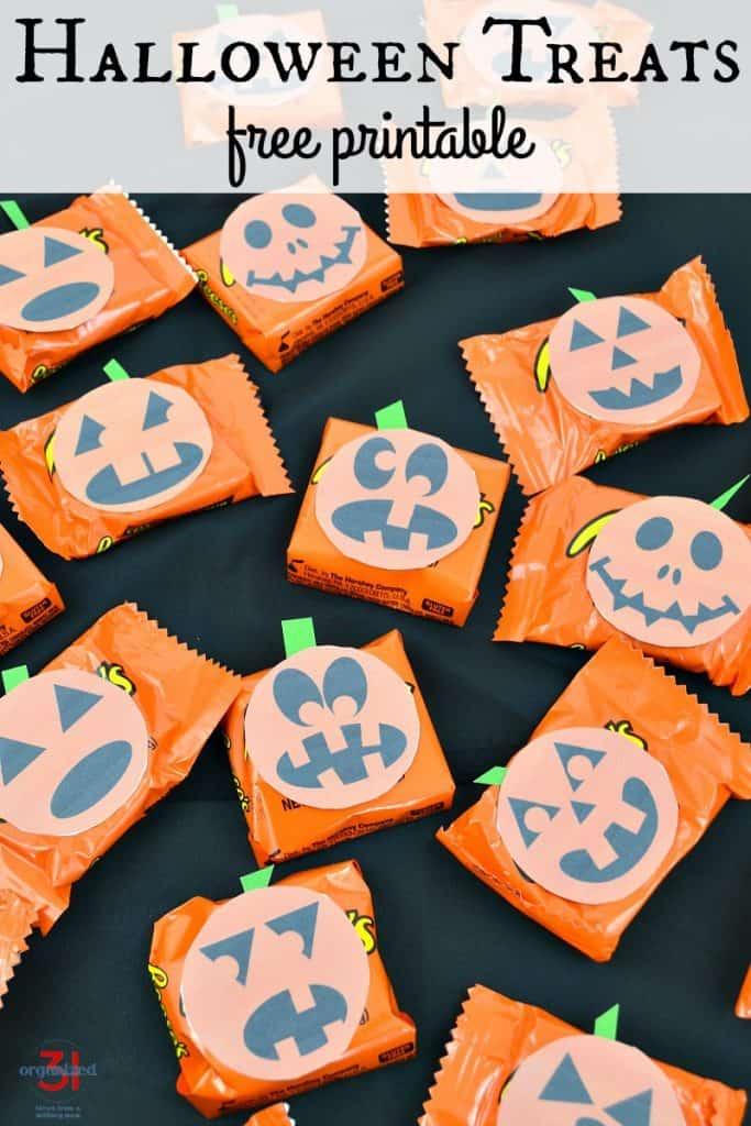 orange packaged candy with diy jack o'lantern printable on them and title text overlay reading Halloween Treats free printable