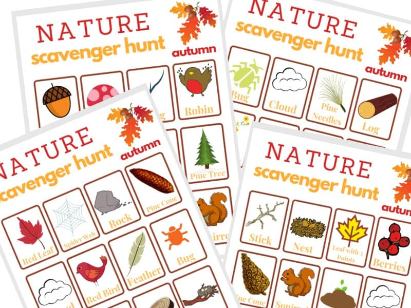 images of 4 different scavenger hunt sheets for the fall