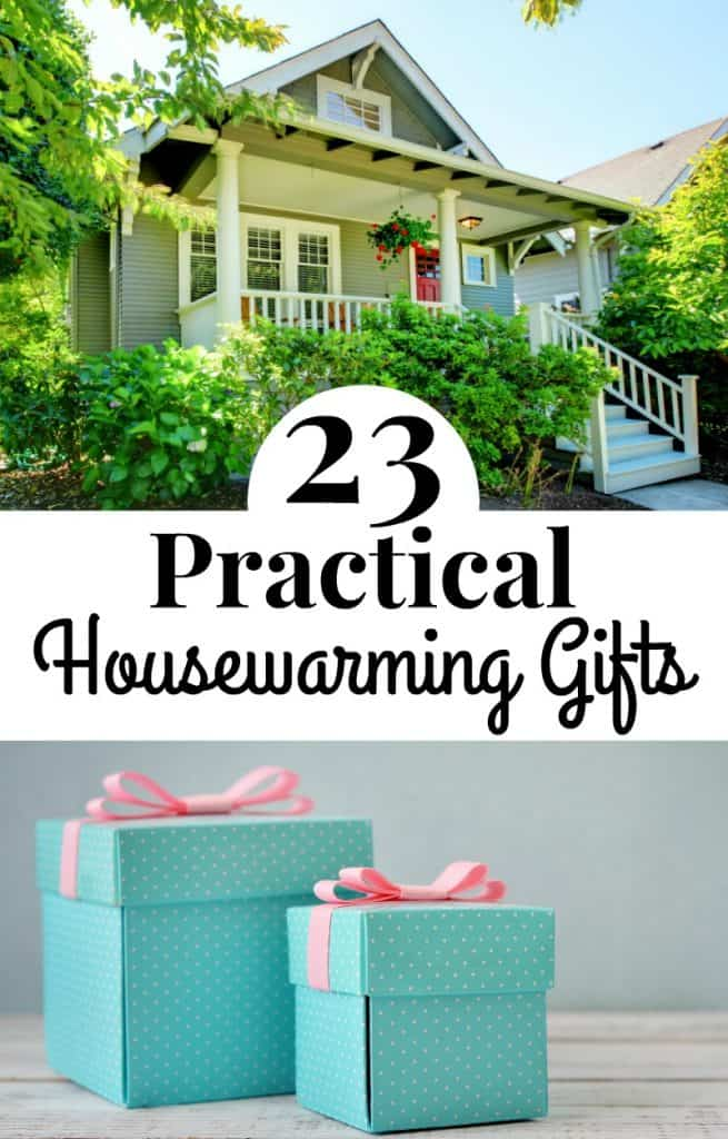 2 image collage - top image white traditional house with front porch, 2nd two blue gift boxes with pink bows with title text in between reading 23 Practical Housewarming Gifts