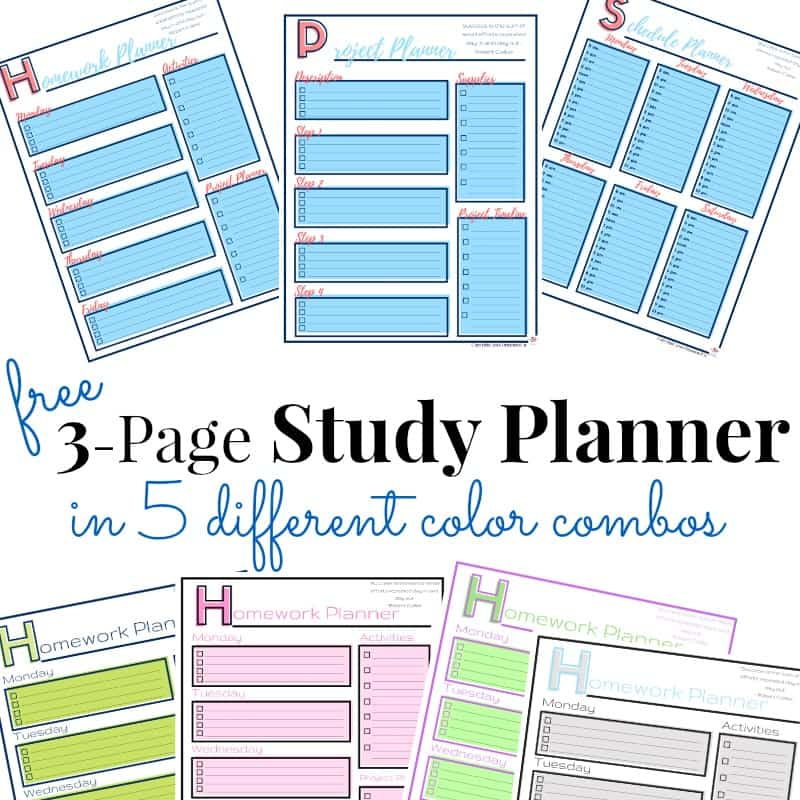 collage of 7 different study planner pages with text overlay