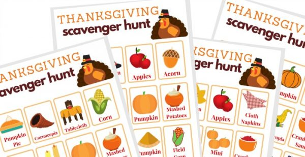 close up of 3 Thanksgiving themed game sheets