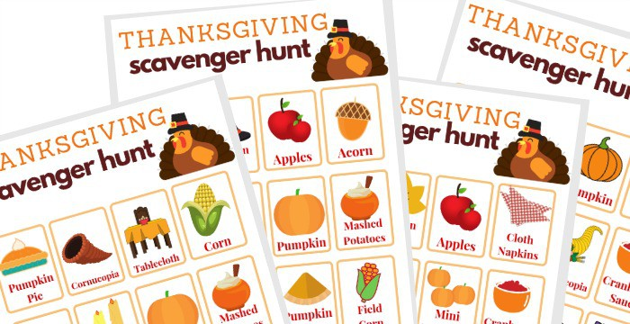 4 images of Thanksgiving scavenger hunt game boards