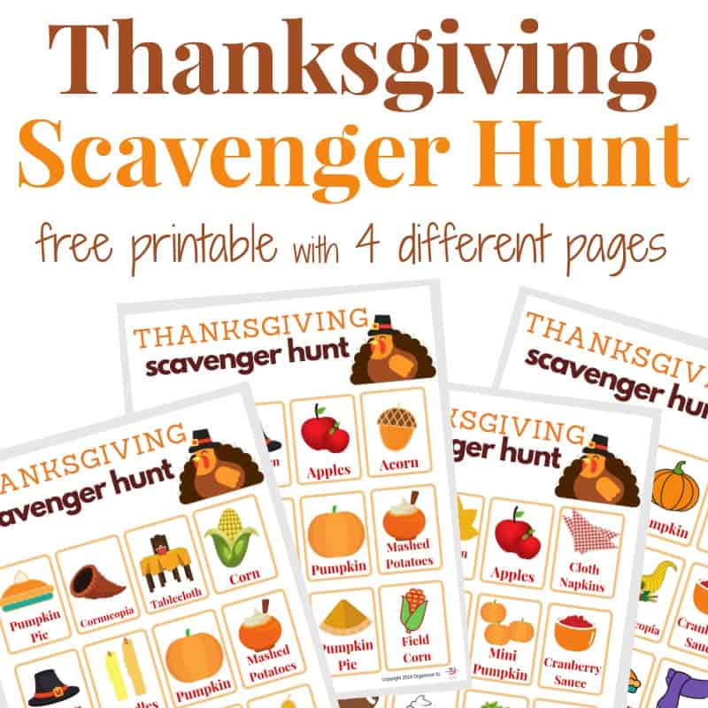 4 images of Thanksgiving scavenger hunt game boards with text overlay