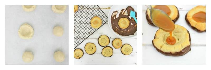 3 images of the steps of making cookies