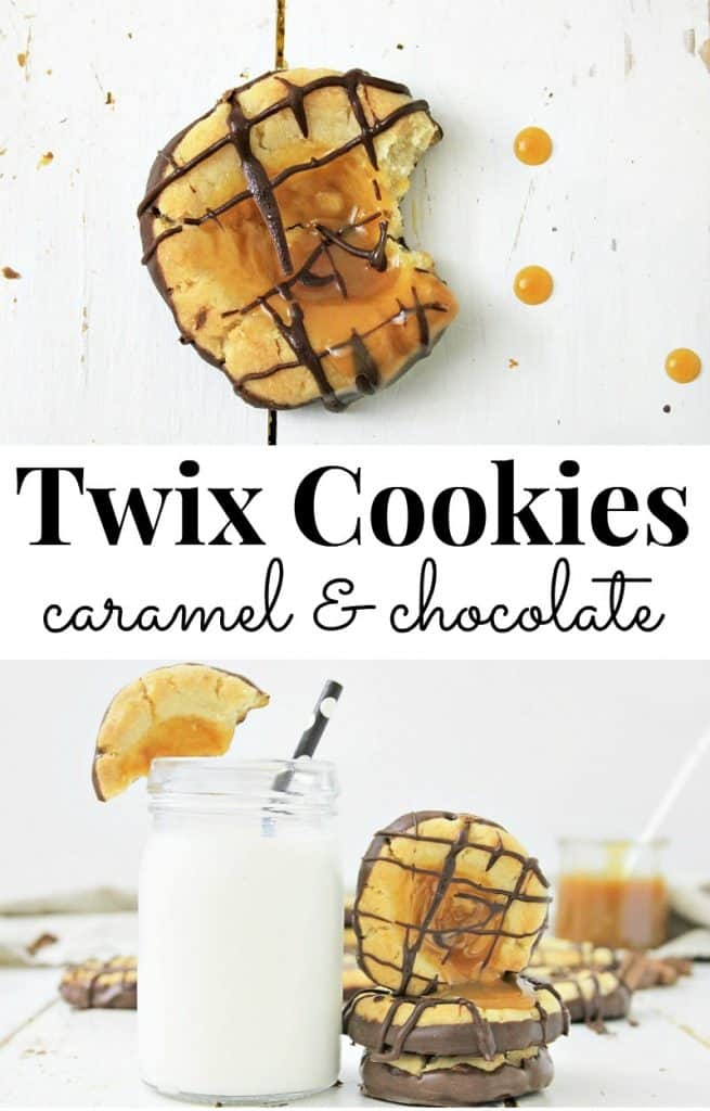 top image - caramel and chocolate cookie, bottom image glass of milk with straw and stack of cookies with title text in the middle reading Twix Cookies caramel & chocolate