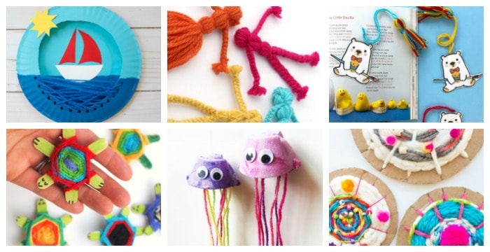 Collage of 6 brightly colored kids' crafts from yarn