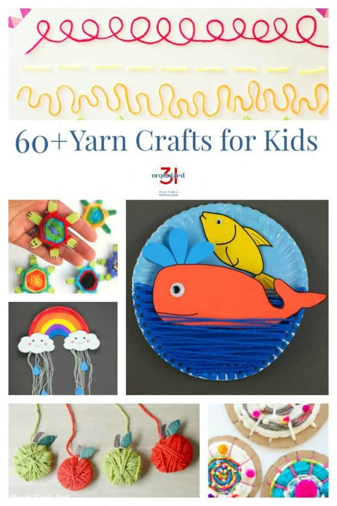 Collage of 6 different yarn crafts for kids'