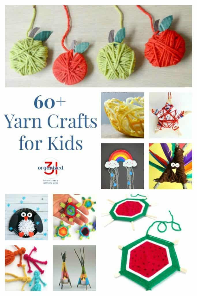 Collage of 10 different kids' yarn crafts