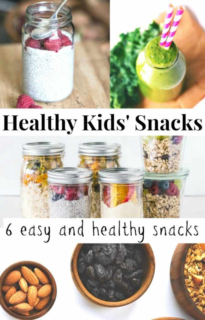 4 images of healthy snacks for kids, fruit and nuts, trail mix, chia seed pudding and a green smoothie