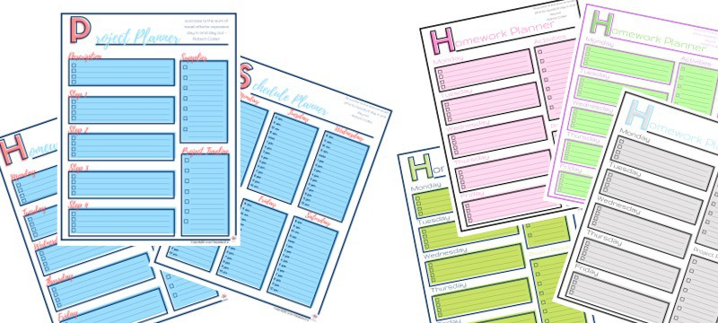 7 different images of study planner pages in different color combinations
