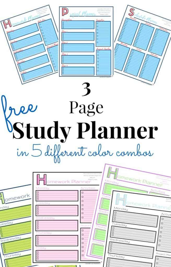 Collage of 7 different study planner pages in different colors with text overlay