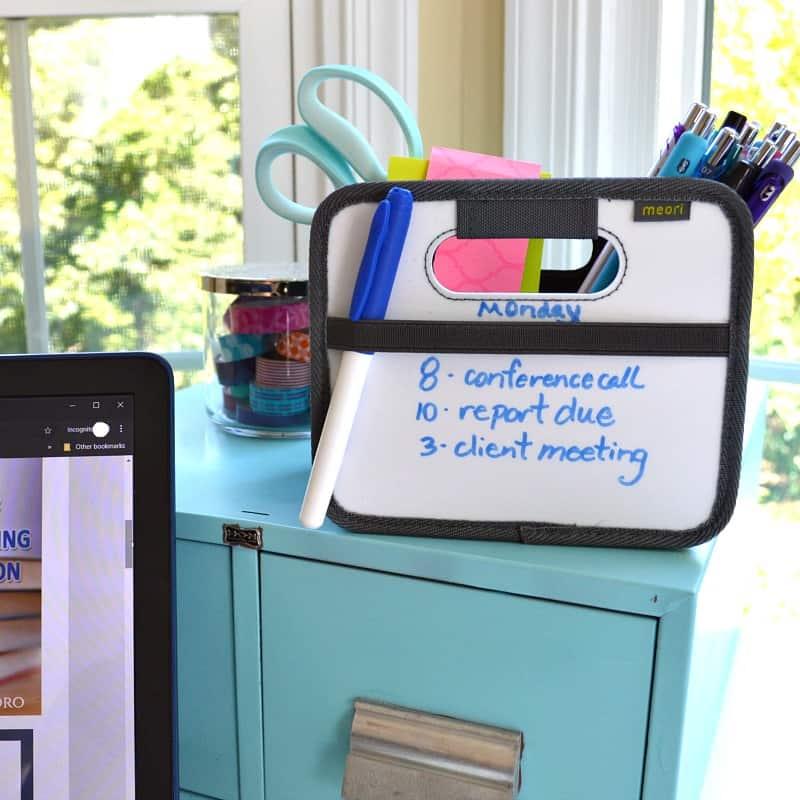 White board box desk organizer with office supplies