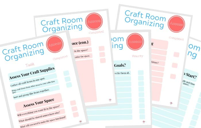 Collage of 5 plan craft room organization checklist pages