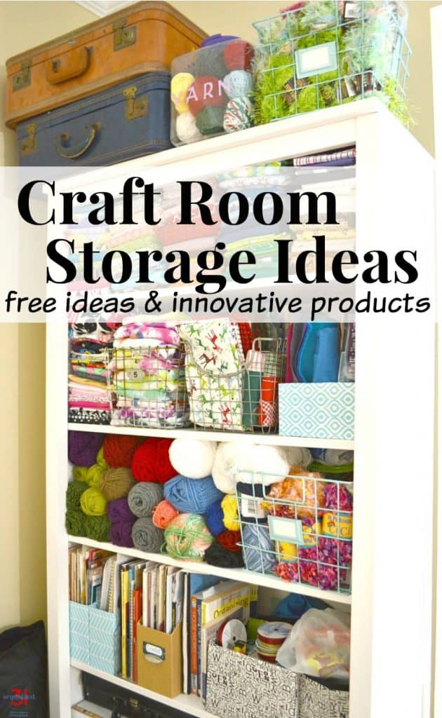 craft items organized on storage shelf with text overlay