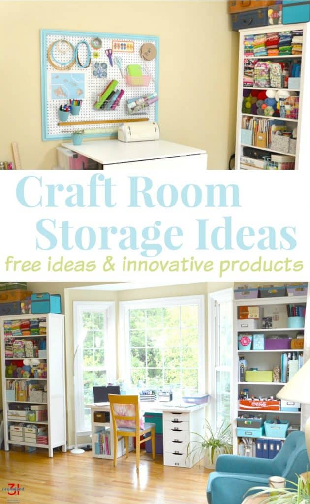 top image craft room organizing peg board, bottom image - organized supplies on storage shelves in craft room