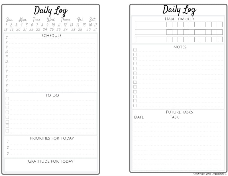image of 2-page daily log printable for bullet journal