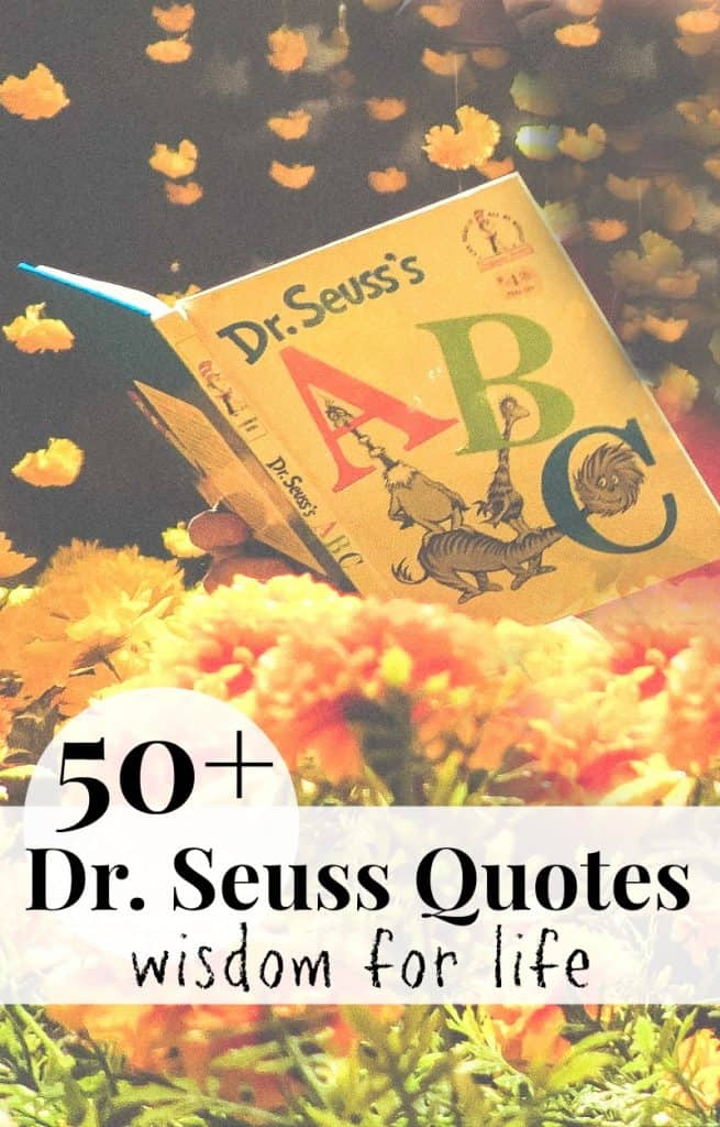 Dr. Seuss ABC book in field of flowers with text overlay
