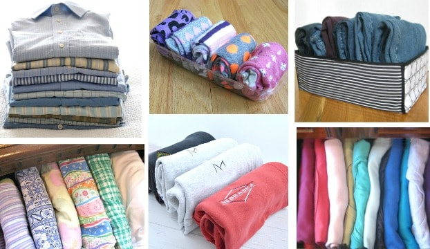collage of six images of different types of neatly folded clothes