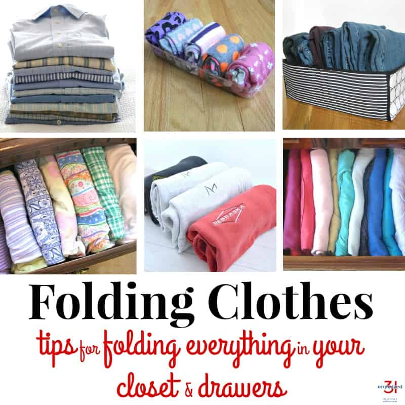 collage of six images of neatly folded clothes with text overlay