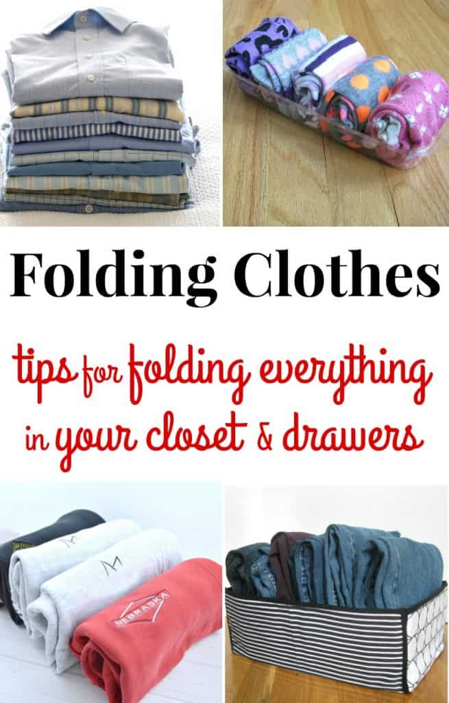 4 different images of neatly folded clothing items with text overlay