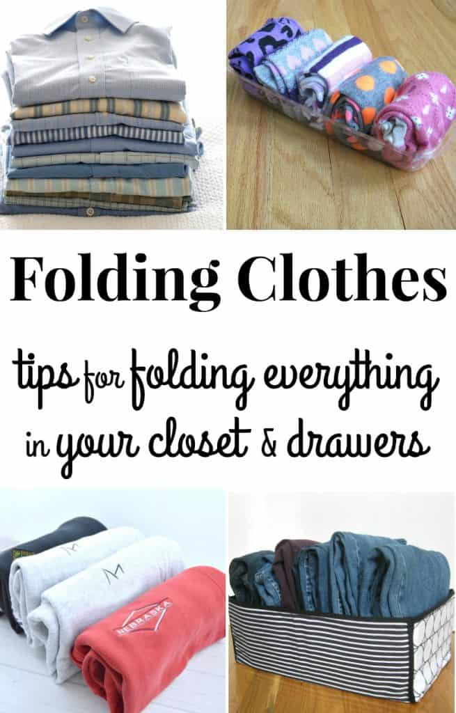 Collage of 4 images of different types of neatly folded clothes with text overlay