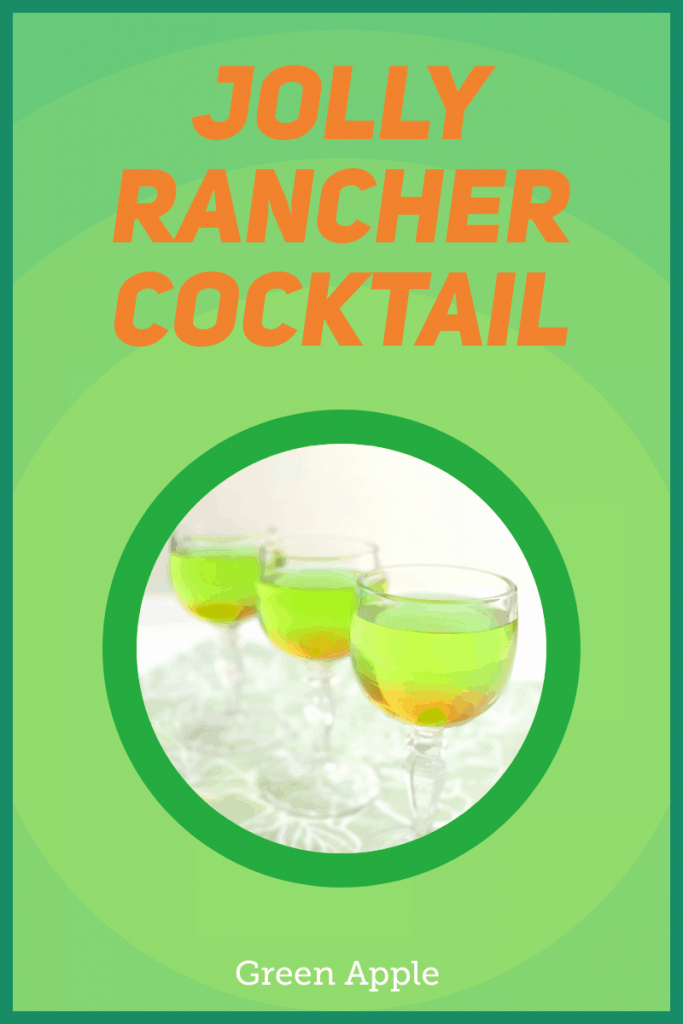 3 glasses of green drink in circle on green box
