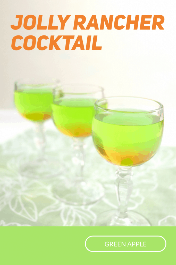 3 wine glasses of green drink on green table cloth