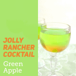 wine glass of green and orange drink with green overlay box