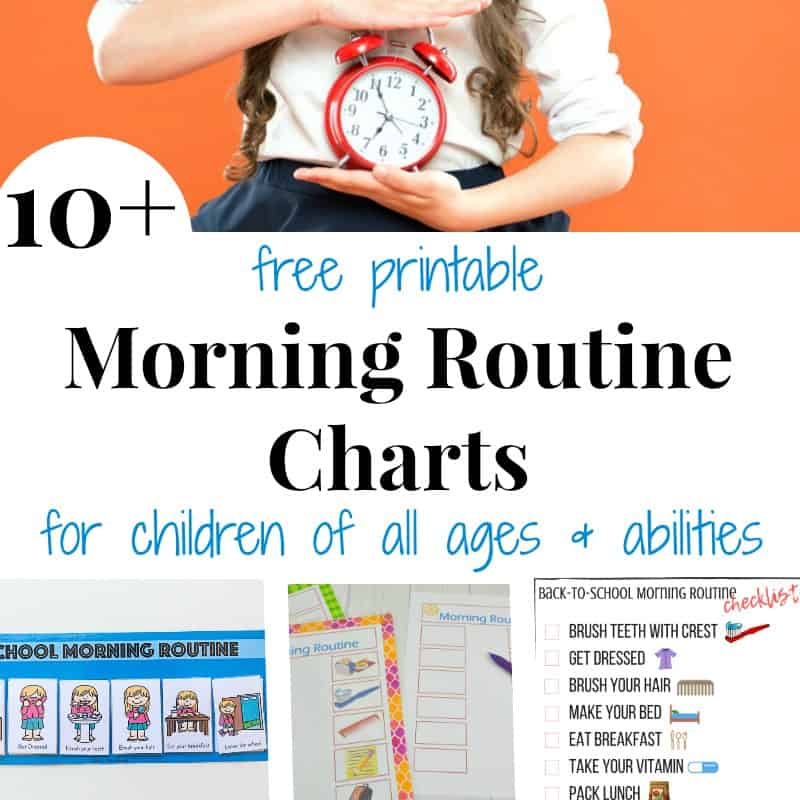 school girl holding alarm clock and 3 images of morning routine charts with text overlay