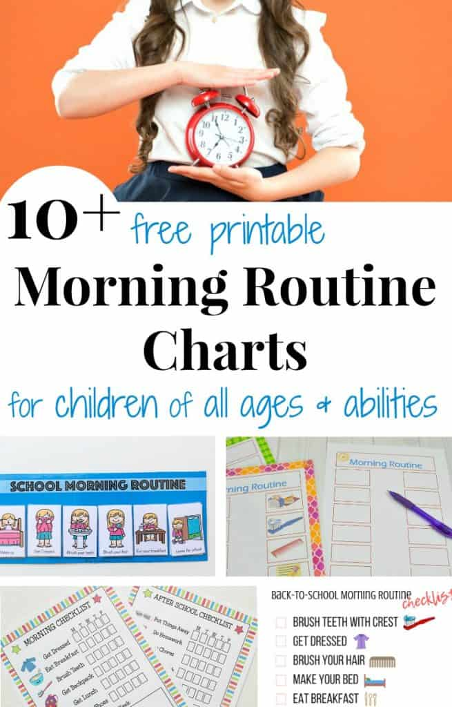 top image - girl holding red alarm clock, bottom image - collage of morning routine charts with title text reading 10+ free printable Morning Routine Charts