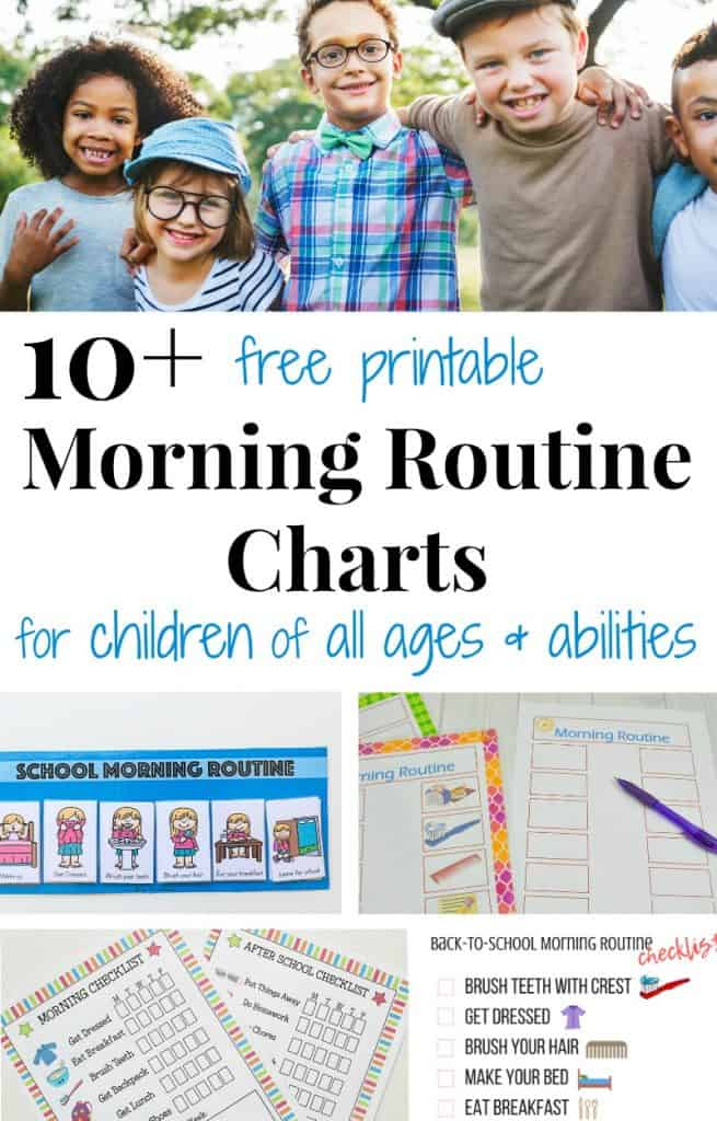 top image - group of 4 school age children, bottom image - collage of morning routine chart with title text reading 10+ free printable Morning Routine Charts
