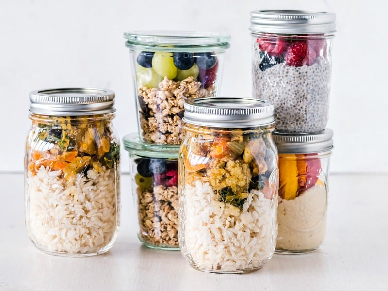 Jars filled with meal prepped snacks and lunches