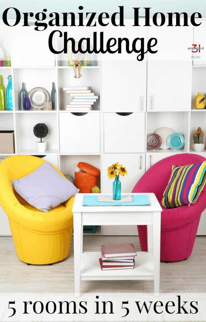 neatly organized white cube shelf with brightly colored chairs and white table in front with title text reading Organized Home Challenge  5 Rooms in 5 Weeks