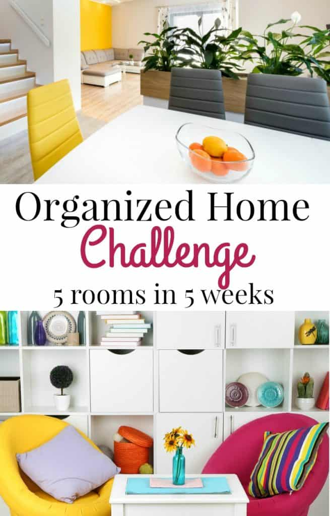 top image - white table with yellow modern chairs, bottom image - bright yellow and raspberry chairs in front of organized white cube shelves with title text reading Organized Home Challenge 5 Rooms in 5 Weeks