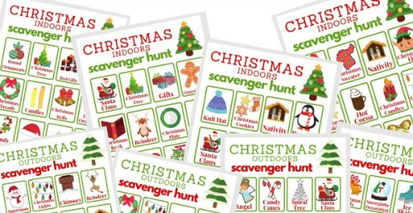 close up of 8 colorful Christmas scavenger hunt game sheets