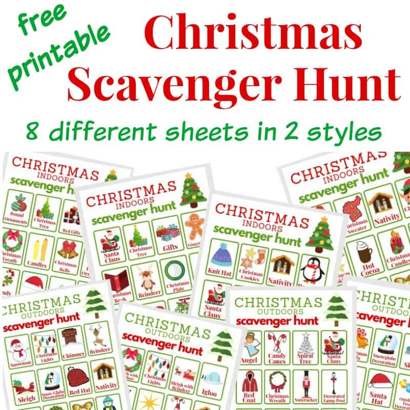 8 different Christmas scavenger hunt sheets with text overlay