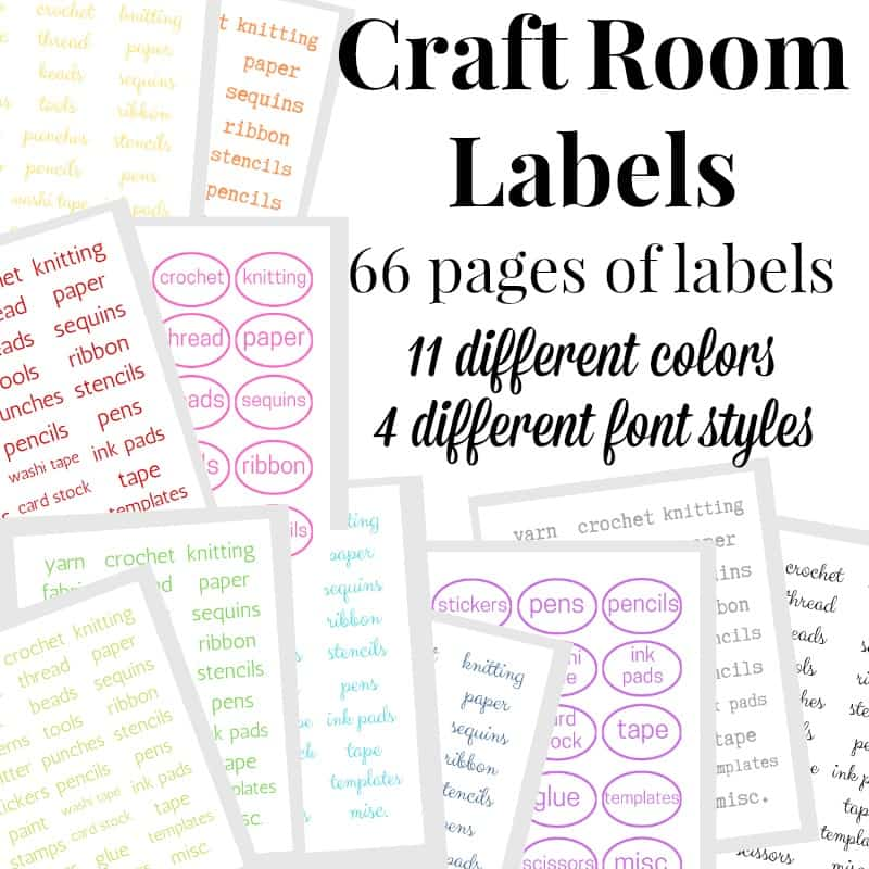 collage of colorful craft room organizing labels