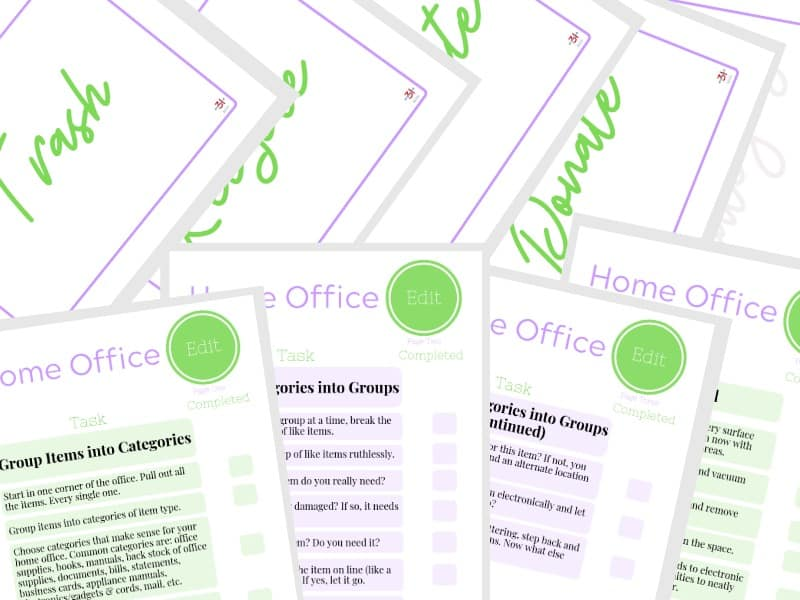 9 pages of the Declutter Your Office Checklist in purple and green
