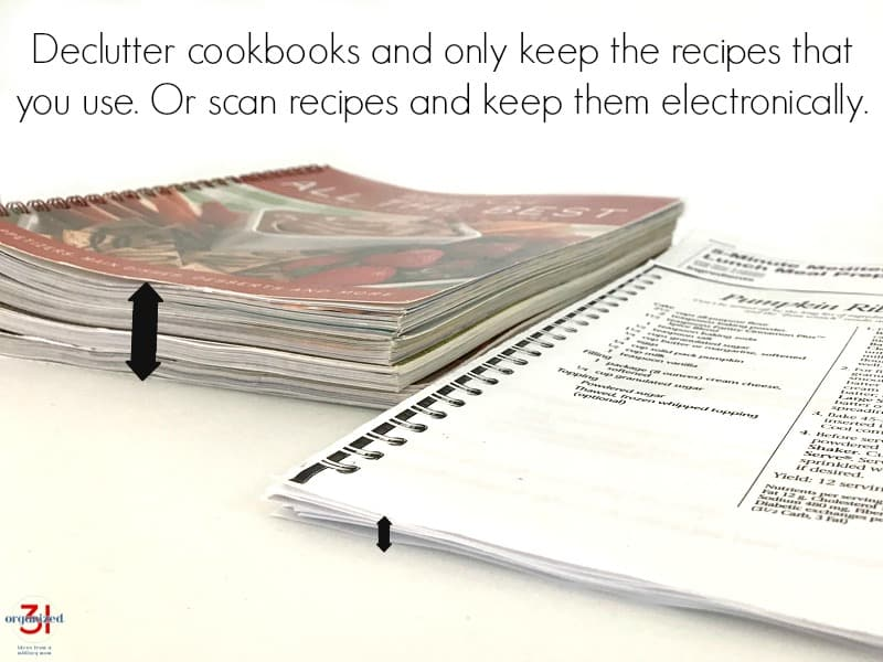Stack of cookbooks next to stack of individual recipes with text overlay