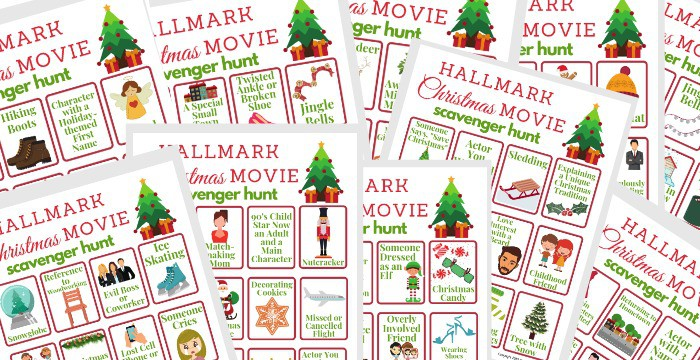 10 different red and green Hallmark Christmas movie scavenger hunt game boards