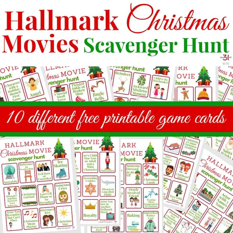 images of Hallmark Christmas Movies scavenger hunt cards with text overlay
