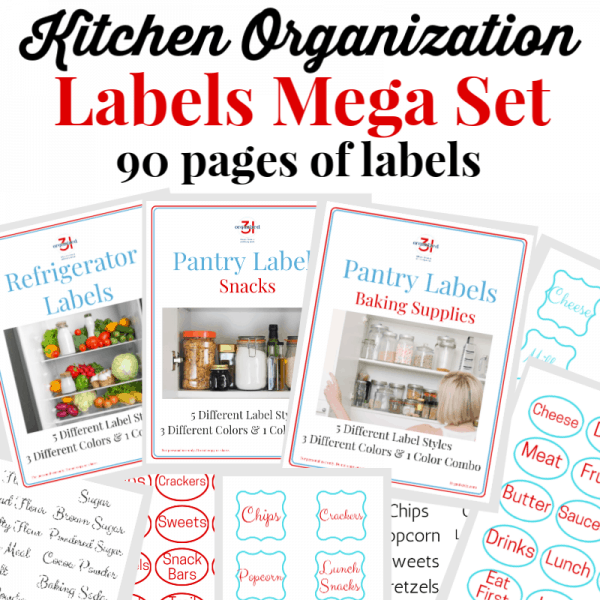 collage of 9 kitchen label images with black and red text overlay