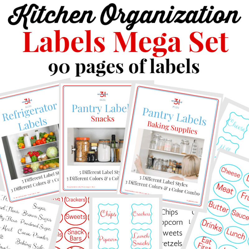 collage of 9 kitchen label images with black and red text overlay reading Kitchen Organization Labels Mega Set 90 pages of labels