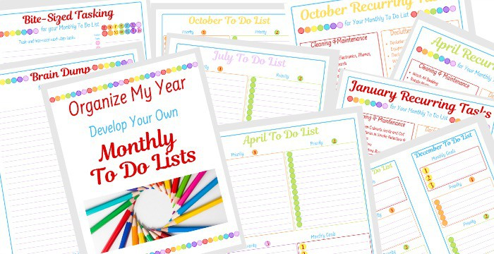 collage of colorful monthly to do lists