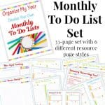 collage of colorful monthly to do lists with text overlay