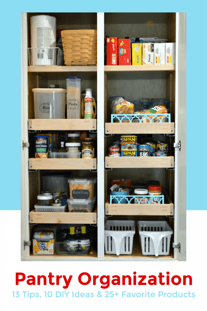 Organized kitchen pantry with blue and red accents